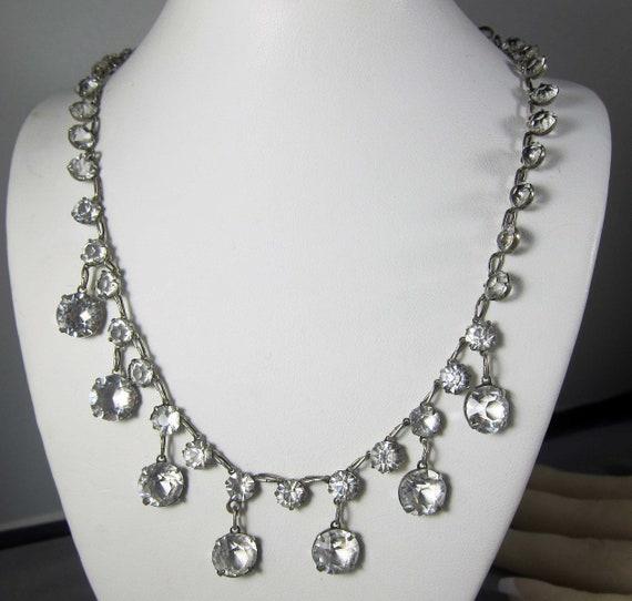 Antique Sterling Silver Crystal Bib Drop Necklace