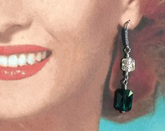 Sterling Silver CZ Ear Wires with Sterling Silver Squares and Emerald Green Faceted Swarovski Beads