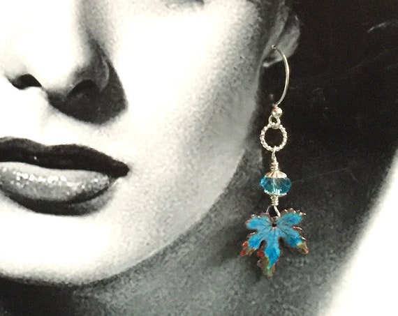 Aqua Blue Enameled Leaves with Swarovski Crystals Swinging from Sterling Silver Ear Wires