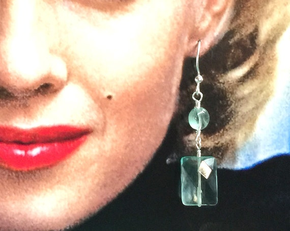 Sterling Silver, Quartz and Vintage Green Crystal Earrings with Sterling Silver Ear Wires