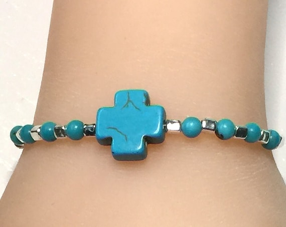 Sterling Silver, Turquoise Howlite Cross and Turquoise Bronzite Bead Bracelet - Fits 7 Inch Wrist