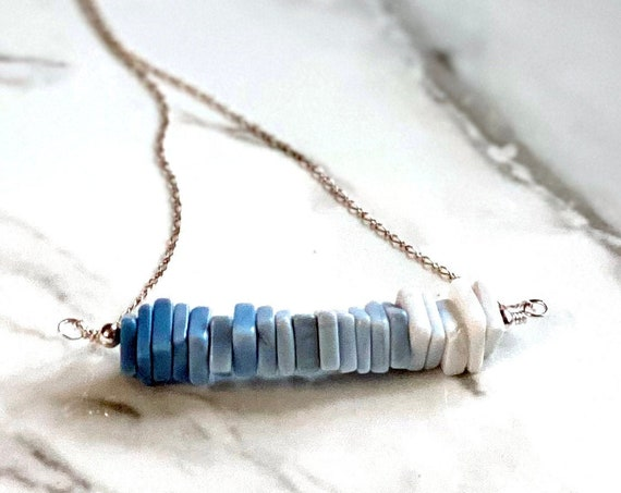 Sterling Silver and Ombre Blue Opal Gemstone Minimalist Bar Necklace
