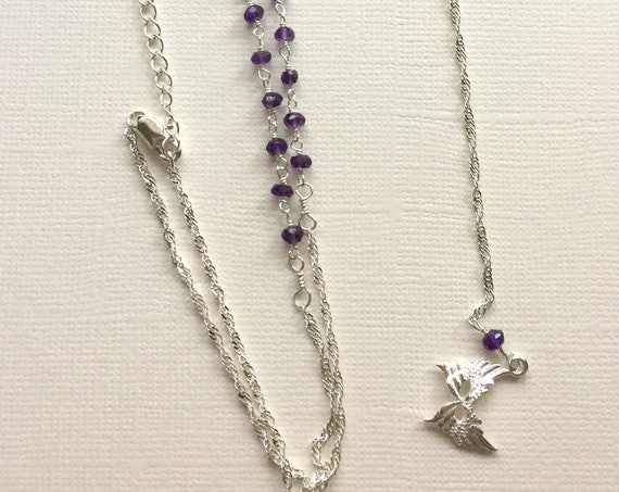 Sterling silver and Amethyst Gemstone Necklace with Mardi Gras / Carnival Mask
