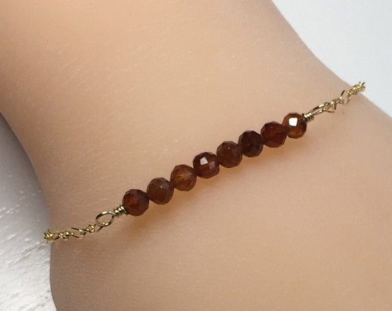 Delicate Minimalist Bracelet of Eight Natural Hessonite Garnet Gemstones with 14k Gold Fill Chain and Clasp