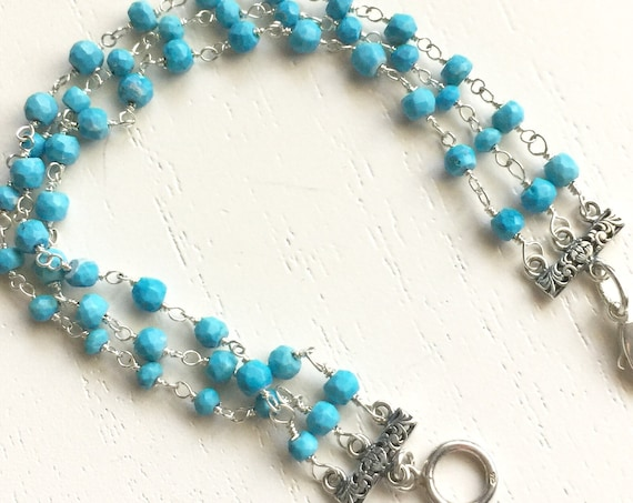 Three Strand Turquoise and Sterling Silver Bracelet