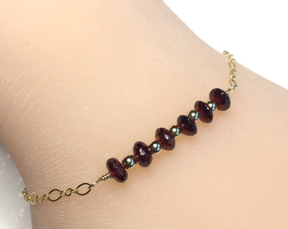 Delicate Minimalist Bracelet of Six Natural Garnet Gemstones with 14k Gold Fill Chain and Clasp