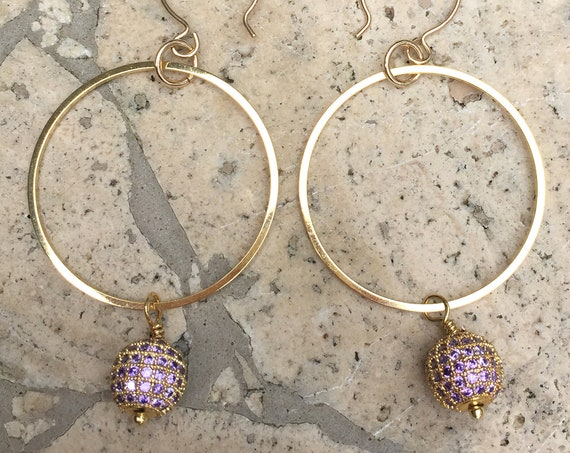 Gold-Plated Hoops with Lavender Purple Pave Beads and Gold Filled Ear Wires