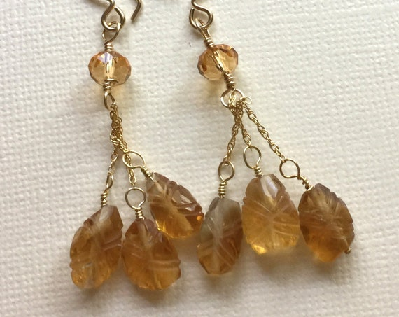 Faceted Citrine and Carved Leaf Citrine Earrings with 14k Gold-Filled Chain and Ear Wires