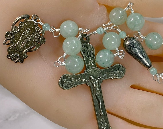 Solid White Bronze and Green Jade One Decade Rosary