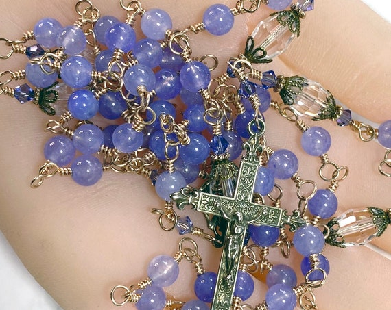 Heirloom Solid Bronze Wire-Wrapped French Fleur de Lis Catholic Rosary in Lavender Jade and Swarovski Crystal