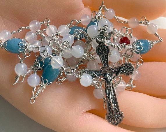 Heirloom Sterling Silver Unbreakable Wire-Wrapped Catholic Rosary in Aqua Agate and White Agate