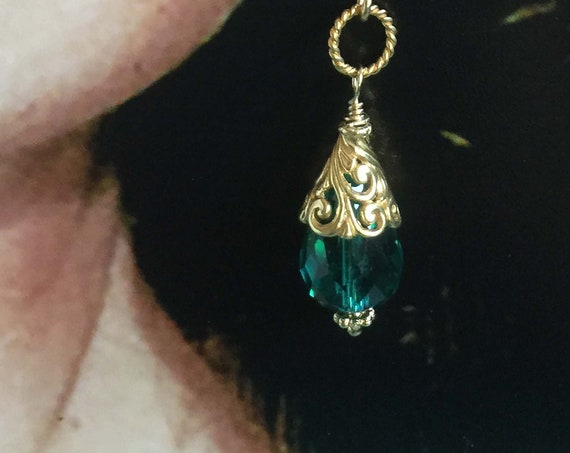 Gold Filigree and Emerald Green Crystal Gold Filled Earrings