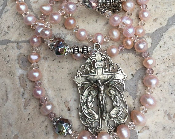 French Adoration of the Angels Cable Catholic Rosary in Blush Pearls and Rosebuds with White Solid Bronze Crucifix and Ave Maria Center