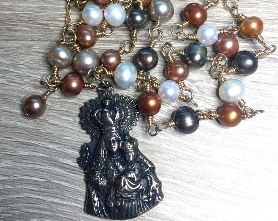 Madonna and Child True Solid Bronze Pendant and Wire-Wrapped Multi-Color Freshwater Pearl Necklace with Solid Bronze Lobster Clasp
