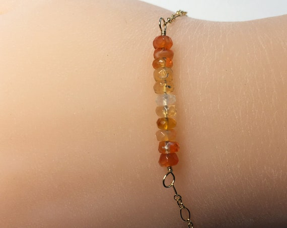 Delicate Minimalist Bracelet of Eleven Natural Ombre Mexican Fire Opal Gemstones with 14k Gold Fill Chain and Clasp
