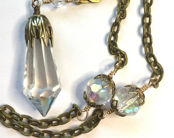 Sparkly Swarovski Clear Crystal Pendant with High Quality Solid Bronze Chain and Clasp Layering Necklace