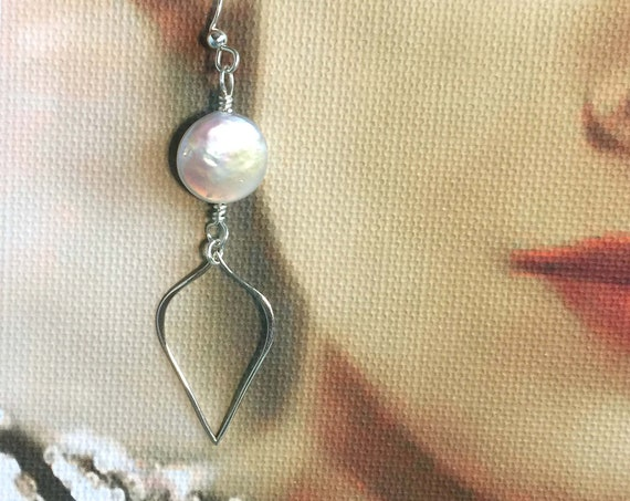 Sterling Silver Earrings with Sterling Silver Teardrop Hoop Below White Coin Pearl