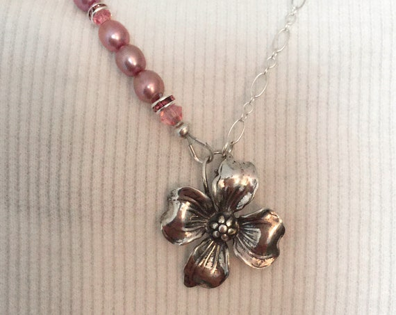 Sterling Silver Dogwood and Rose Pink Freshwater Pearl Necklace with Artisan Made Sterling Flower Clasp