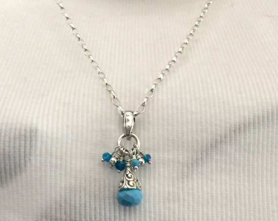 Turquoise, Apatite and Sterling Silver Pendant on an 18 Inch Sterling Silver Rolo Chain