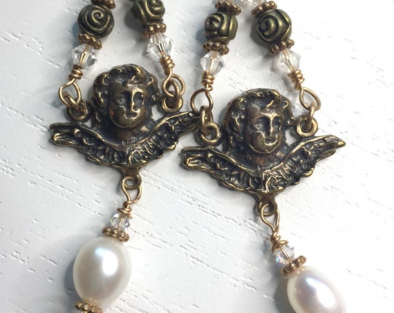 Solid Bronze Angel Earrings with Freshwater Pearls