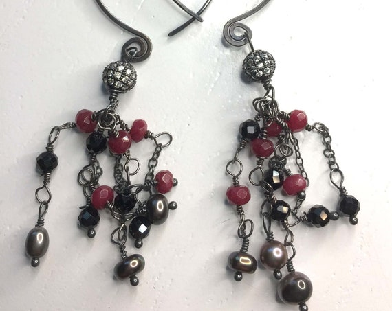 Large Hoop Statement Earrings - Ruby, Black Spinel and Grey Freshwater Pearl Wire-Wrapped Tassel Earrings in Oxidized Sterling Silver