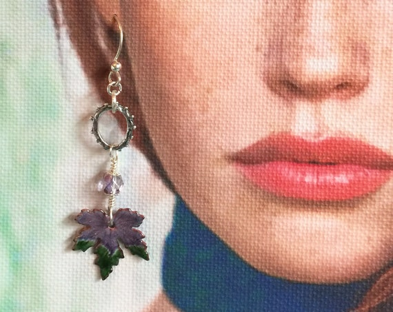 Lavender Purple and Green Enameled Leaves Swinging from a Sterling Silver Artisan Ring and Ear Wires