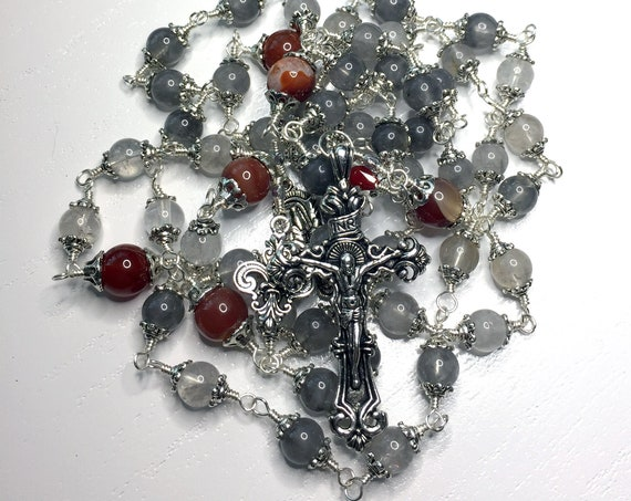 Heirloom Wire-Wrapped Unbreakable Pewter Catholic Rosary in Grey Quartz and Red Agate