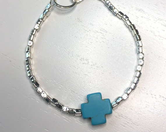 Sterling Silver Beads and Turquoise Cross Bracelet