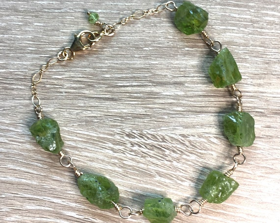 Seven Natural Peridot Gemstones in a Rough Cut with Gold Filled Chain Bracelet