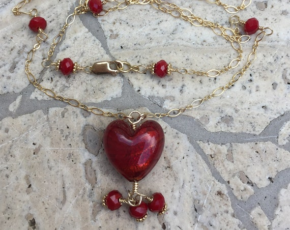 Red Murano Glass Heart and 14k Gold Filled Chain Necklace with Red Czech Accent Beads