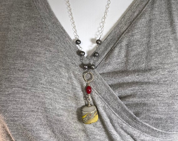 Sterling Silver Grey Pearl and Lampwork Necklace with Yellow and Red