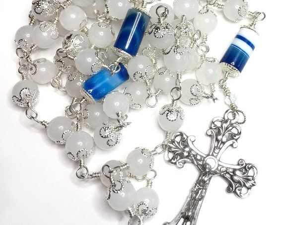 Heirloom Sterling Silver, Blue Banded Agate and White Quartz Unbreakable Wire-Wrapped Catholic Rosary
