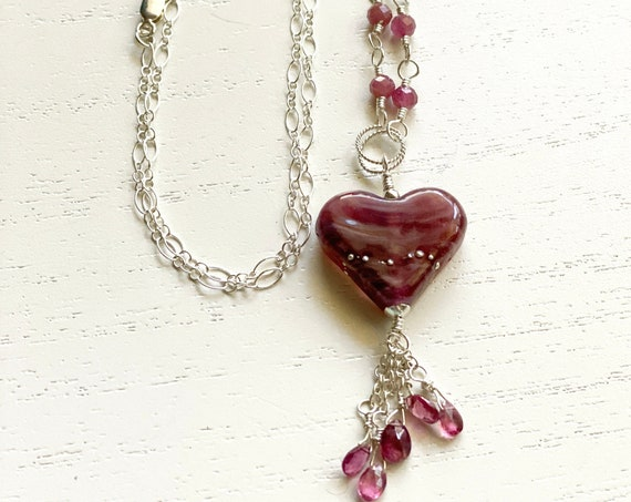 Sterling Silver and Tourmaline Gemstone Necklace with a Wild Rose and Silver Lampwork Glass Heart and Tourmaline Tassel