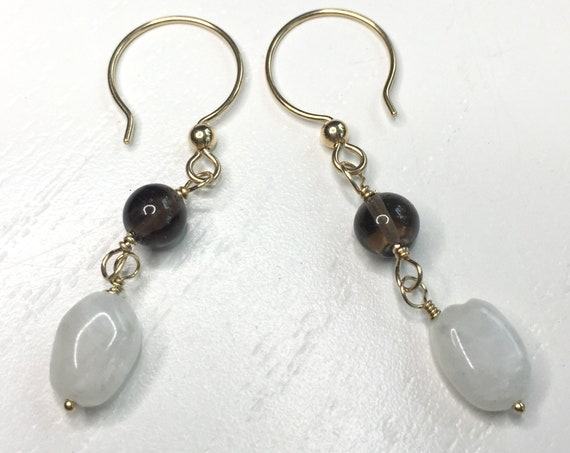 Smoky Topaz and Moonstone Earrings on 14k Gold Filled Ear Wires