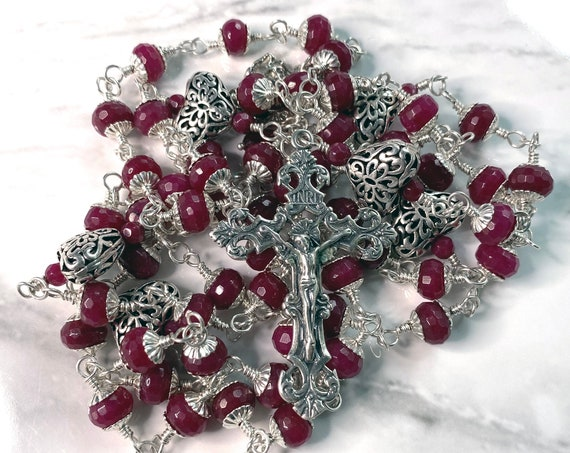 Heirloom Sterling Silver Five-Decade Wire-Wrapped Hearts and Angel Catholic Rosary in Raspberry Jade