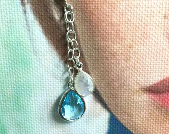 "Sterling Silver, Moonstone and Blue Topaz Hydro Quartz Post Earrings ""Something Blue"""