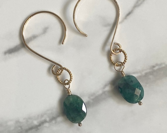 14k Gold Filled Earrings with Raw Emerald Gemstones