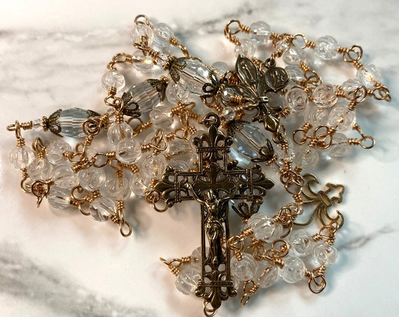 French Fleur de Lis Heirloom Wire-Wrapped Five-Decade Catholic Rosary in Clear Carved Quartz, Swarovski and Solid Bronze