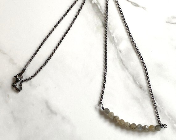 Labradorite Bar Necklace in Oxidized Sterling Silver