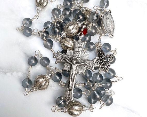 """Heirloom Wire-Wrapped Unbreakable Five-Decade Catholic Rosary in Gray Rock Crystal and """"Mercury"""" Beads in Pewter"""