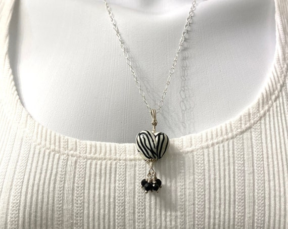 Lampwork Zebra Heart with Gemstone Spinel and Sterling Silver Chain Necklace