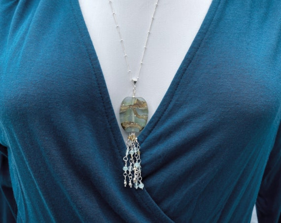 Aqua / Silver Lampwork Bead with Tassel of Quartz, Sterling, Amazonite and Aqua Crystals on a Sterling Satellite Chain