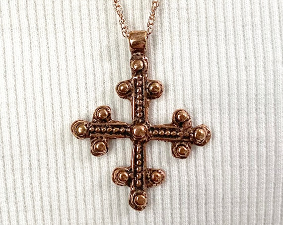 Rose Gold Filled Twisted Chain with Rose Bronze Coptic Cross - Simple and Beautiful