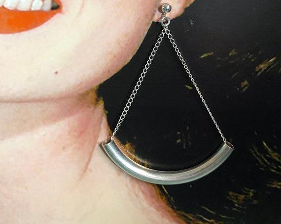 Sterling Silver Curved Pierced Post Earrings