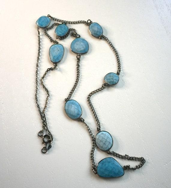 Turquoise Bezel Gunmetal Oxidized Layering Boho Necklace