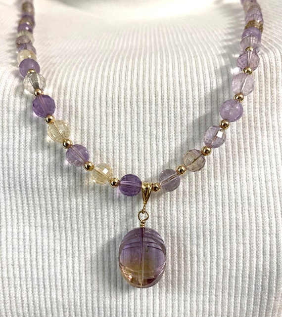 Statement Necklace of Faceted Ametrine Gemstone and Gold-Filled Beads