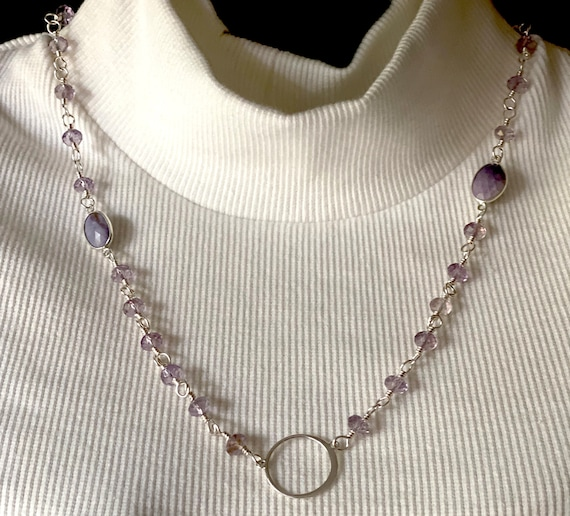 Sterling Silver Wire-Wrapped Necklace with Lavender Amethyst and Tiffany Opal Gemstones