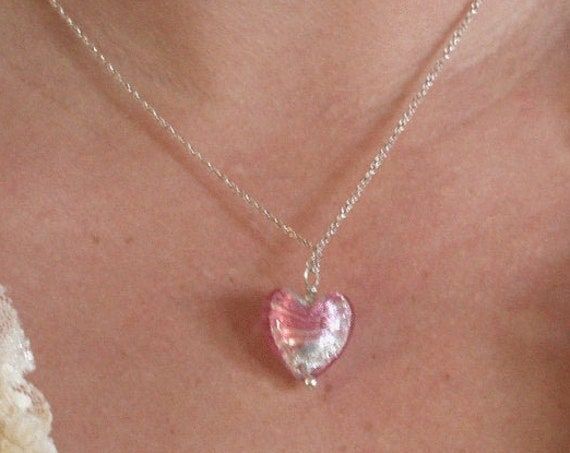 Pink Silver Foil Glass Heart and Sterling Silver Necklace