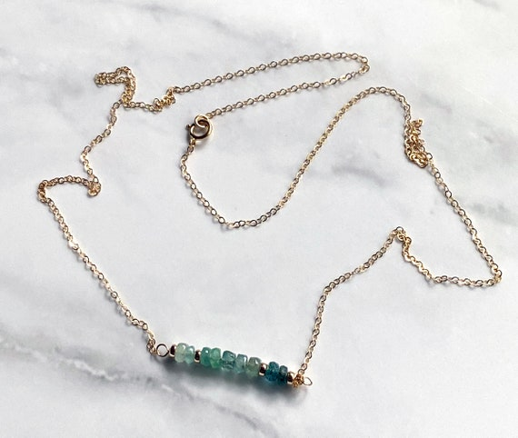 Ombre Emerald Gemstone Minimalist Bar Necklace with 14k Gold Filled Chain and Beads