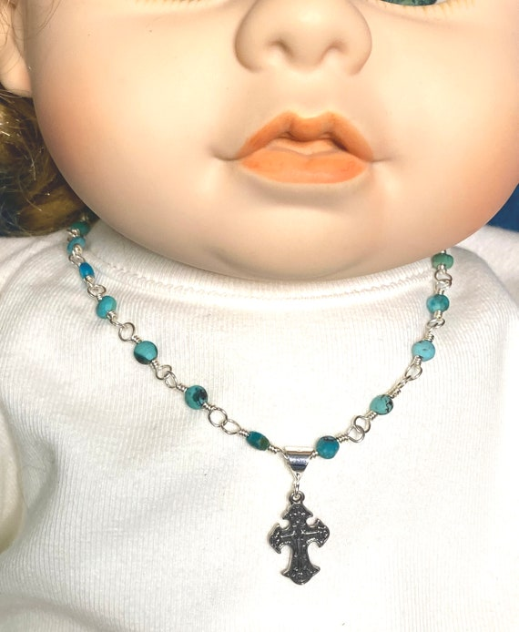 Heirloom Sterling Wire-Wrapped Turquoise Necklace for Little Girls with Sterling Cross